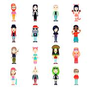 Subcultures Icons Set - stock illustration