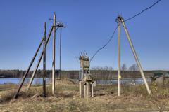 Electricity distribution transformer, electrical power substation in the coun Kuvituskuvat
