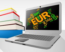 Euro Word Indicates Foreign Currency And Coin Stock Illustration