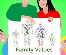 Family Values Shows Blood Relation And Children - stock illustration