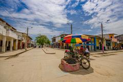 Muisne, Ecuador - March 16, 2016: Downtown Muisne city, small charming town Kuvituskuvat