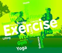 Exercise Words Shows Working Out And Exercised - stock illustration