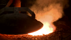 Metallurgical industrial factory: pouring melted metal. Stock Footage