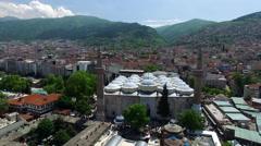 Bursa Ulu Mosque, Turkey. 4K Aerial Clip Captured by Drone Stock Footage