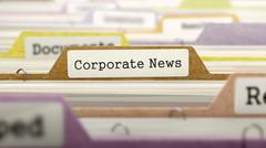 Corporate News on Business Folder in Catalog - stock illustration