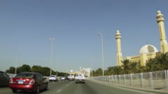 On Board Camera On A Car in Al Fatin Highway. View of the Grand Mosque, Bahra Stock Footage
