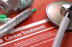 Cancer Treatment - Medical Concept on Orange Background - stock illustration