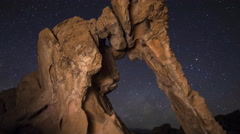 3axis MoCo Astro Time Lapse of Milky Way Galaxy over Elephant Rock -Zoom Out- Stock Footage