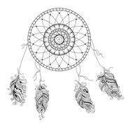 dream catcher with decorated feathers - stock illustration