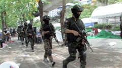 Swat Squad Special Forces Sniper Teams Take Position Attack Bangkok 2010 9686 Stock Footage