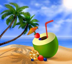 Fresh drinking coconut with a straw - stock illustration