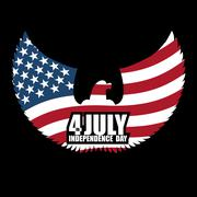 Independence Day America. Symbol of ountrys eagle with wings and USA flag. Na Piirros