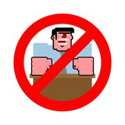 Stop angry boss. It is forbidden to shout. Strikethrough evil boss. Emblem ag - stock illustration