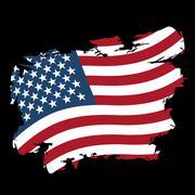 USA flag grunge style on black background. Brush strokes and ink splatter. Na - stock illustration