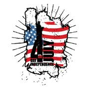 Statue of Liberty and USA flag in grunge style. Brush strokes and ink splatte Piirros