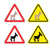 Warning sign attention donkey. Dangers yellow sign stupid man. Ass on red tri Stock Illustration