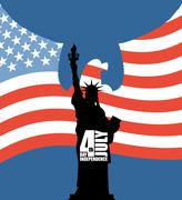 Statue of Liberty on background of American flag. Independence Day of USA. Ea Piirros