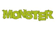 Monster text. Scary lettering and typography. Green terrible Letters - stock illustration