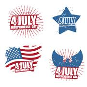 Grunge sign for Independence Day in America. Star and paint splatter. Eagle w - stock illustration