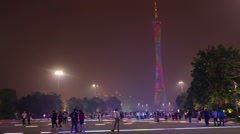 Large area with people and illuminati the highest TV Tower in world at night Stock Footage
