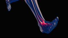 4K Ankle Pain in Human Body Transparent Design with Matte 1 Stock Footage