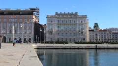 Unity of Italy Square (Piazza Unit d'Italia) from the pier. - stock footage