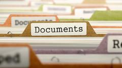 Documents on Business Folder in Catalog - stock illustration