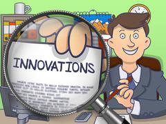 Innovations through Lens. Doodle Style - stock illustration