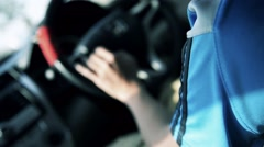 Unknown asian man  drive car Stock Footage