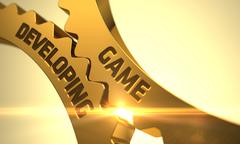 Game Developing Concept. Golden Cog Gears Stock Illustration