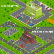 Hospital And Fire Station Isometric Banners Stock Illustration