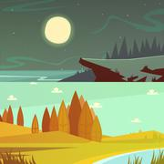 Camping Cartoon Banners Set - stock illustration
