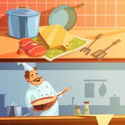 Cooking Banners Set - stock illustration
