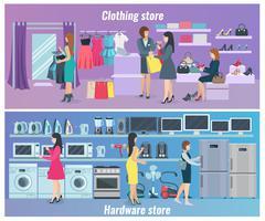 Woman Shopping Flat Banners - stock illustration