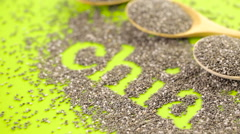 Healthy Chia seeds with shia sign close-up. Stock Footage