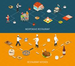 Restaurant Bar Service 2 Isometric Banners - stock illustration