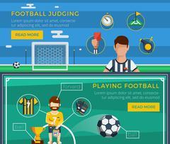Football Banner Set Stock Illustration