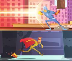 Superhero Banners Set Stock Illustration