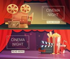 Cinema Banners Set Stock Illustration