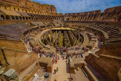 ROME, ITALY - JUNE 13, 2015: Inside view of Roman Coliseum, each year a lot of Stock Photos