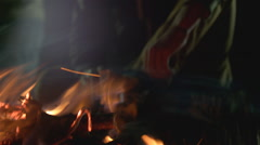 Embers in the fireplace. Stock Footage