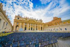 VATICAN, ITALY - JUNE 13, 2015: Everything ready for weekly general papal - stock photo
