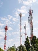 Telecommunication tower group - stock photo