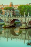 ROME, ITALY - JUNE 13, 2015: Sant Angelo bridge on Tiber river only for - stock photo