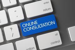 Online Consultation Key - stock illustration