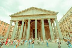 ROME, ITALY - JUNE 13, 2015: Pantheon of Agrippa view from outside, people visit - stock photo