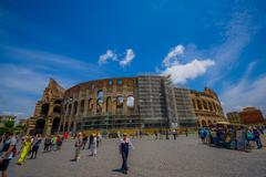 ROME, ITALY - JUNE 13, 2015: Nice view of Roman Coliseum from outside, people Stock Photos