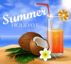 Coconut tropical nut background Stock Illustration