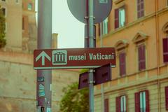 VATICAN, ITALY - JUNE 13, 2015: Museum vatican signal for turists, little Stock Photos