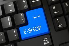Keyboard with Blue Keypad - E-shop Stock Illustration
